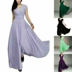 Women Long Formal Prom Party Bridesmaid Chiffon Evening Dress Cocktail Plus Size $52.66
