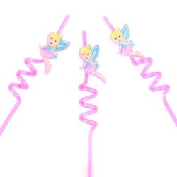 CURLY FAIRY STRAWS Novelty Girls Birthday Party Bag Loot Twist Stocking Filler GBP 4.09