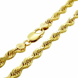 18K Yellow Gold Solid Mens Heavy 7mm Diamond Cut Rope Chain Pendant Necklace 24