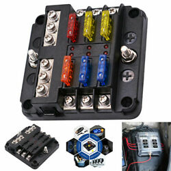 6 Way Car Boot Power Distribution 12-24V Blade Fuse Holder Box Block Panel Board $13.99