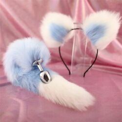 False Fox Tail And Ears With Metal Anal-Butt Plug Romance Game Funny Cosplay Toy $7.40