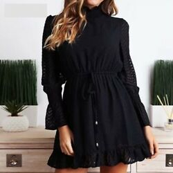 NEW Mini Black Dresses Elegant Ruffle Casual Vintage Long Sleeve Turtleneck