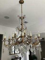 Chandelier with Baccarat Crystals and Bronze frame 18 light Chandelier Antique