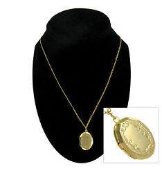 Photo Locket Pendant Necklace Small Gold Tone Classic 18