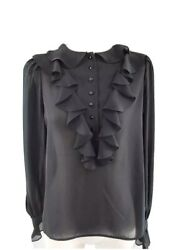 Vintage Sears Womens Ruffle Blouse Long Sleeves Size 12 Sheer Victorian Padded C $25.00