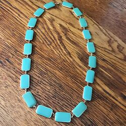 1960's Teal Green Cream Enamel Gold Tone Necklace 24