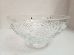 THOMAS JAMES Crystal Bowl criss cross amp; fan Signed Hand Cut amp; Blown $25.00