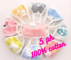 5 pc Baby Kids Children Toddler Teen Adult Cotton Face Mask Washable Reusable $9.00