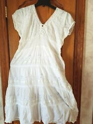 Women summer beach white dresses with crochet lace and embroidery Free Sz $19.99