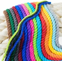 Strong Natural Twisted 3 Strand Cotton Rope Artisan Cord Soft Assorted Colors $8.54