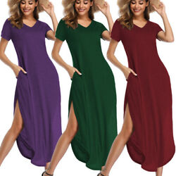 Women TShirt Long Maxi Dress Split Evening Party Casual Shirt Dress Summer Beach $13.99