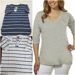 Nautica Ladies#x27; V Neck Top with Roll Tab Tee Pic Co Stripe amp; Size S 2X #1359755 $9.95