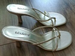 Fabulaire KENDRA Gold Sandal Slip On Heels Size 7 Great Condition $9.99