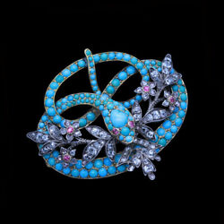 Antique Victorian Brooch Pendant Snake Turquoise Diamond Rubies 15ct Gold (6695)