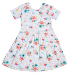 Girls spring summer WHITE FLORAL DRESS FREE SHIPPING Size 3456 $12.99