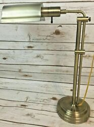 Antique Brass Piano Bankers Pharmacy Table Desk Lamp RARE Adjustable Height 34