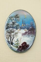 Gorgeous Large Russian Fedoskino Hand Painted Brooch Mother of Pearl WINTER $55.00