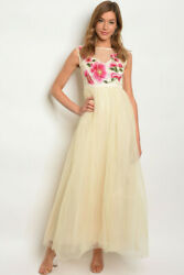 Women Cream Mesh Floral Embroidered Long Sleeveless Evening Dress Gown HOCO Prom $25.46