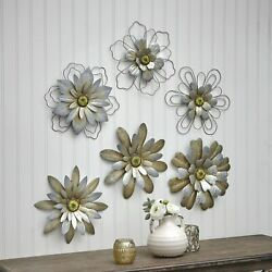 Rustic Galvanized Metal Hanging Wall Flowers Floral Indoor Accents Set of 3 $21.98