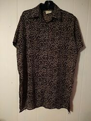 La Palapa Women#x27;s beach wear Short Sleeve Animal Print Size M bathing cover $14.50