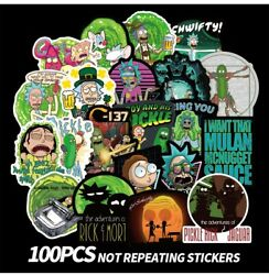 100pcs Rick and Morty themed vinyl Stickers Cute Character Stickers USA SHIPPING $7.99