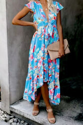 Blue Floral High Low Pocketed Front Tie Flutter Sleeve Maxi Dress MEDIUM 8-10 $24.40