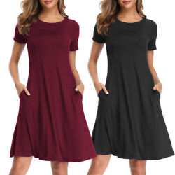 Womens Summer T Shirt Short Sleeve Dresses Party Casual Beach Tunic Sundress $9.99