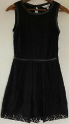 Speechless Fit & Flare Skater Dress 3 Black Lace Faux Leather Trim Sleeveless  $8.49