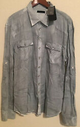 Rogue Men's Long Sleeve Snap Front Western Sheer Striped Shirt XL Gray NEW $59.99