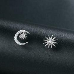 Silver Sunshine Moon Star White Gold Pave Cubic Zirconia Stud Earring $9.99