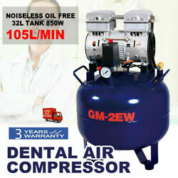 32L Dental Air Compressor Noiseless Oil Free Silent Quiet Air Compressor DE SALE