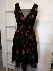 Modcloth Wimens Size Small Black Floral Net Overlay Sleeveless Classy Dress $25.00