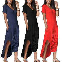 Womens Loungewear Summer T Shirt Long Maxi Dress Casual Home Work Beach Sundress $11.99