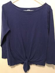 Womens Old Navy Periwinkle Blue Knotted Long Sleeve Tshirt Size Medium