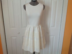 Bar III Womens Fit & Flare Cocktail Dress sleeveless white lace trim size SM $25.00