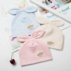 Solid Cotton Newborn Baby Tire Caps With Ear Girls Boys Sun Hats With Bow Gifts $7.15