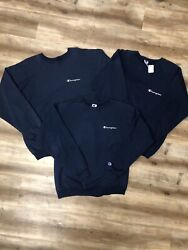 CHAMPION SPORTSWEAR LOT of 3 VINTAGE 90s NAVY BLUE SPELLOUT SWEATSHIRTS MED LRG $60.00