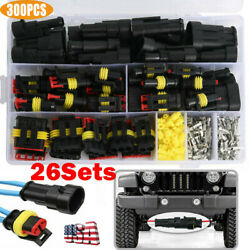 26 Sets Waterproof Car Auto Electrical Wire Connector Plug 1 4 Pin Way Plug Kit $17.48