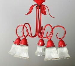 Chandelier Antique Red 5 arm light sockets with glass covers $69.95