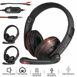 Gaming Headset With 3.5mm Jack Cable Mic Headphones Stereo For Xbox One PS4 $19.47