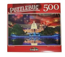 500 PC Puzzle CraZart Land of the Free Independence DayWhite House Fireworks $11.50