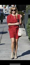 $495 Vanessa Bruno Silk Dress Red 38 US 6 M Reese Witherspoon $199.99