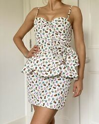 Alessandra Rich Pineapple Print Corton Summer Dress - New!