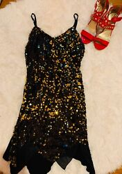 Junior Party Short Sleeveless Gold Sequin Bodycon Dress Size: Small Pull Over $16.00