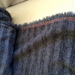 Fabric Gray Blue Chenille Striped Rare Vintage Material Upholstery Heavy BTYard $21.95