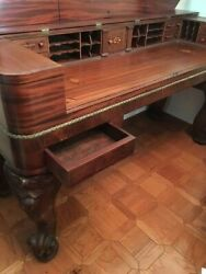 Gorgeous antique office display desk table sturdy wood made from grand piano $1900.00