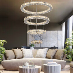 Modern Adjustable LED Chandeliers Round Ceiling Light Ring Crystal Pendant Lamp