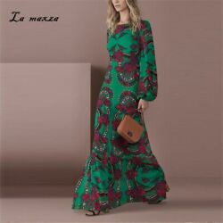 Marvelous Women Autumn Dresses Vintage Sexy Print Party Elegant Long Maxi Dress GBP 34.90