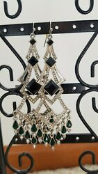 chandelier earrings black and green stones 2 inches length good condition $0.99