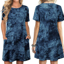 Womens Short Sleeve Casual T Shirt Summer Dresses Tie Dye Tunic Beach Sundress $8.99